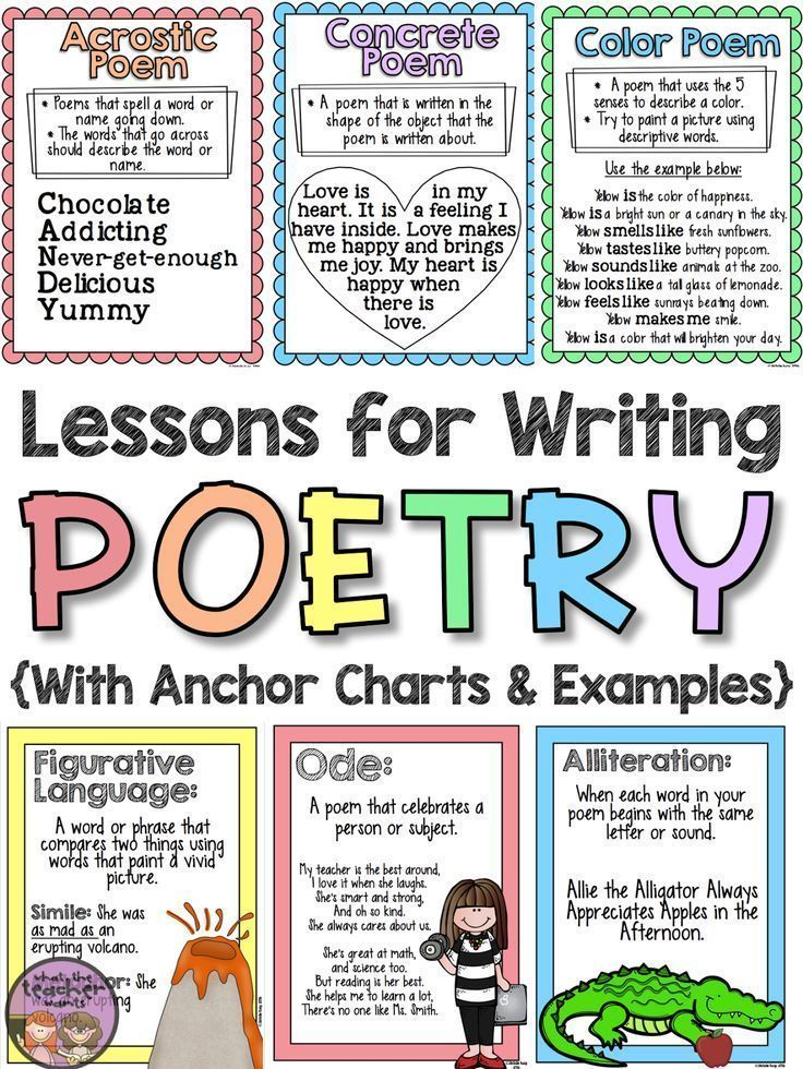Teaching poetry in the upper grades can seem like a difficult task, but this poetry unit will walk your students through 11 forms of poetry and and 8 elements of poetry. The end product is a complete book of original poems! There posters and anchor charts will help students write poetry. Poetry examples are provided. Perfect for the upper elementary classroom: 3rd grade, 4th grade, 5th grade, or 6th grade!