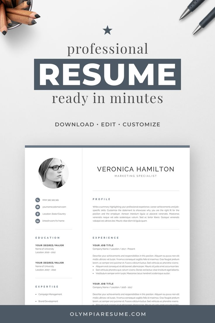 Professional CV Template with Photo Modern Photo Resume