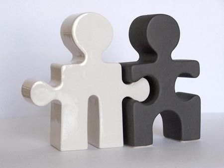 Salt and Pepper Shakers Housewarming Gift Puzzle People Black and white,   via Etsy.