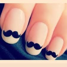 Mustaches nail art
