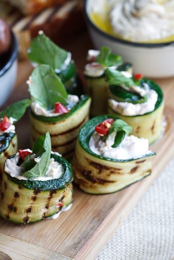 Courgette Rolls with Feta, Mint & Chilli