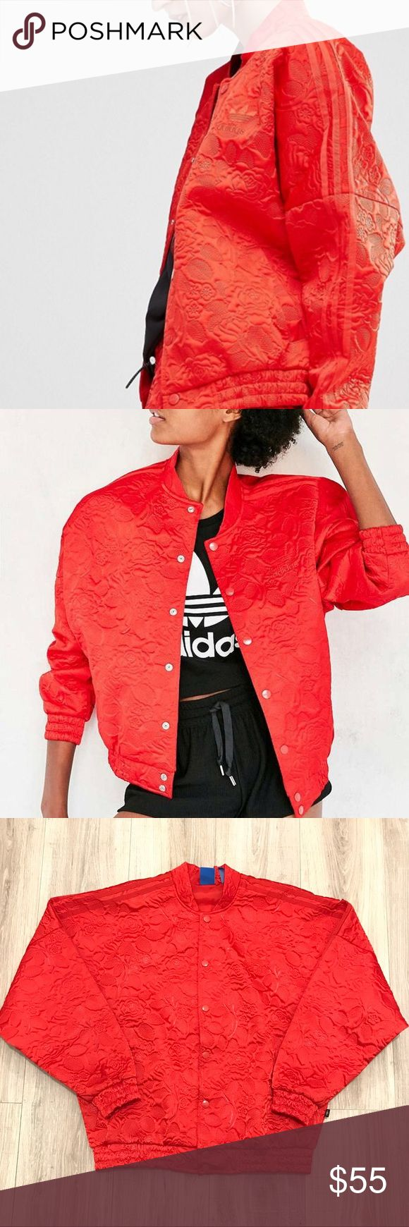 RED ADIDAS BONDED LACE OVERSIZED BOMBER JACKET Beautiful red color.  Women's size medium. Fits oversized. Looks great with red floral adidas leggings.  Worn but no flaws. adidas Jackets & Coats