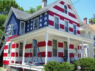 This Man, Dreams Home, Red, God, American Flags, Blue, Front Yards, House, Painting