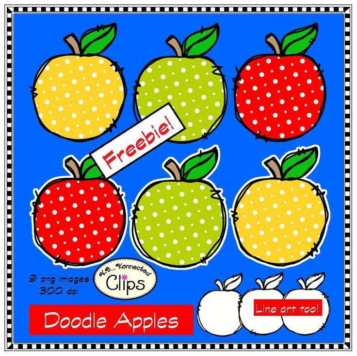 Doodle Apples Freebie! http://www.teacherspayteachers.com/Product/Doodle-Apples-Freebie-Clip-Art-1252527