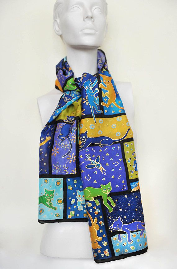 cats in the window hand painted silk scarf patchwork and