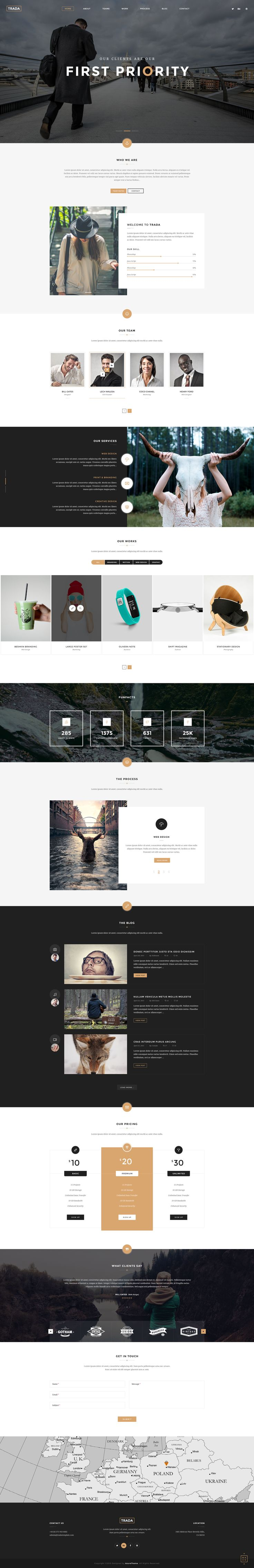 Trada - Creative Onepage PSD Template • Download ↓ https://themeforest.net/item/trada-creative-onepage-psd-template/12049758?ref=pxcr