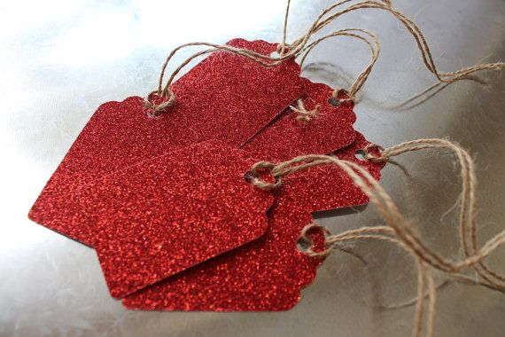 Set of 6 Red Glitter Gift Tags by LYHHandmadeGifts on Etsy