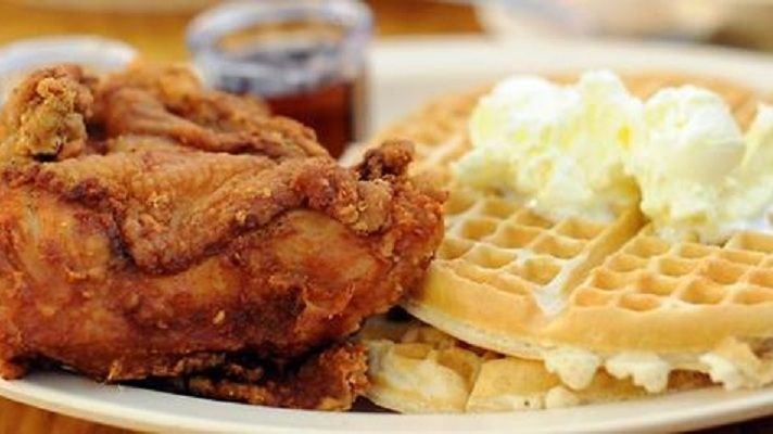 Roscoe's chicken and waffles. Good enough for the President, good enough for us.