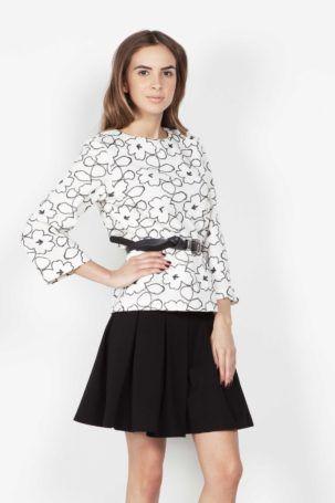 Блузка шерстяная с цветочным принтом