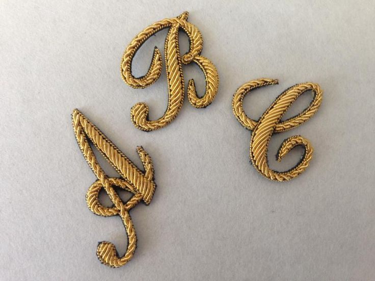 Hand Embroidered Script Gold Letters