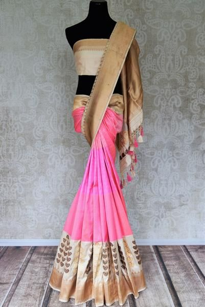 7f9ac70756 90H378 Pink Self Stripes Banarasi Saree with Zari Buta and Zari Border