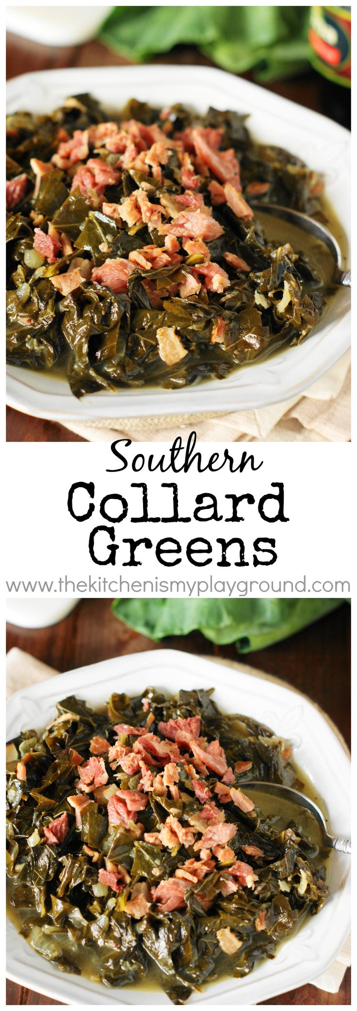Southern Collard Greens ~ Enjoy tender, tasty #collards for New Year's Day or ANY day of the year! #collardgreens #NewYears #Southerncooking   www.thekitchenismyplayground.com