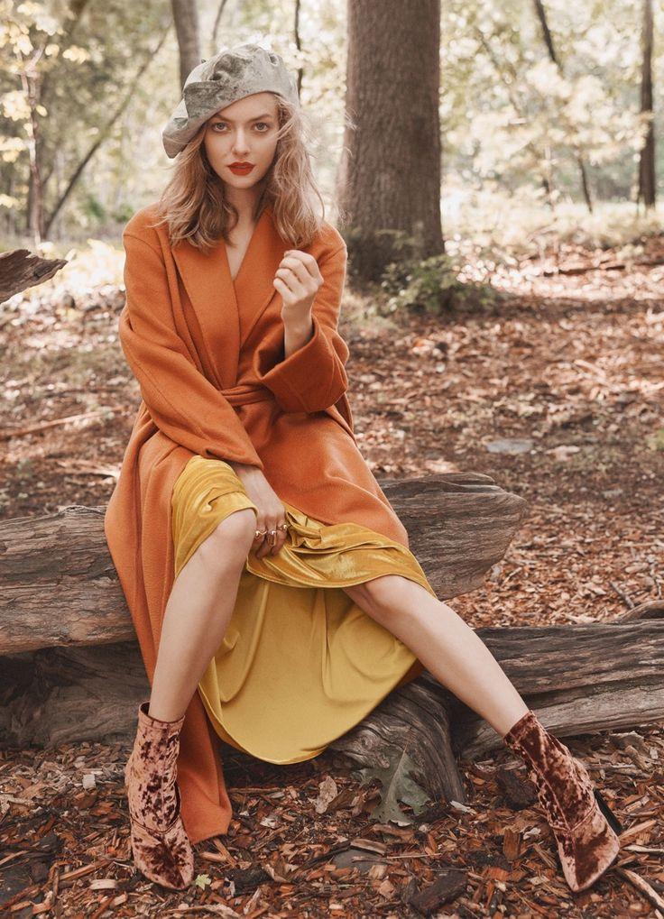 Actress Amanda Seyfried covers up in Boss coat, Alix dress and Mara Hoffman hat for Allure Magazine November 2016