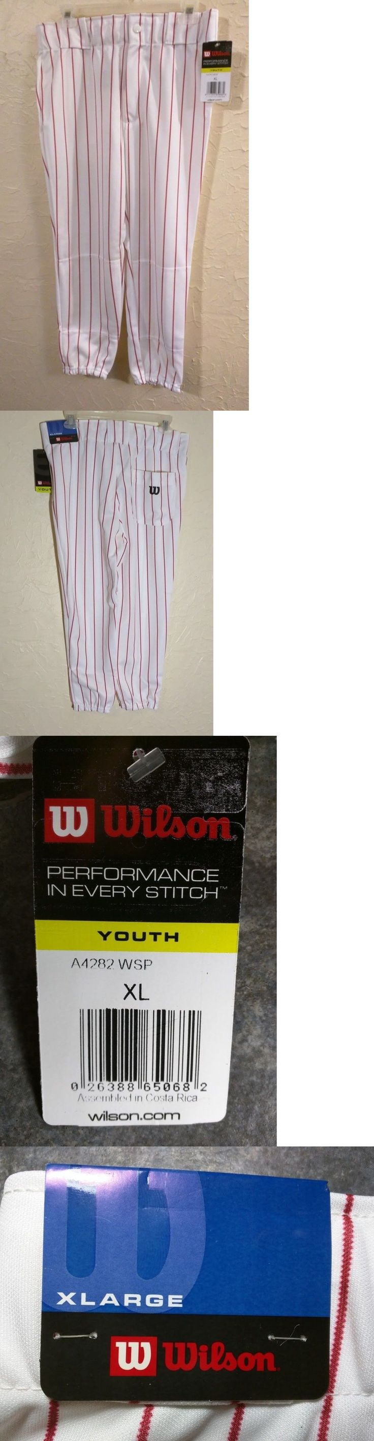 Baseball Pants 181349: New Wilson Youth Baseball Pants White Pinstripe Red Button Belt Size Xl -> BUY IT NOW ONLY: $46 on eBay!