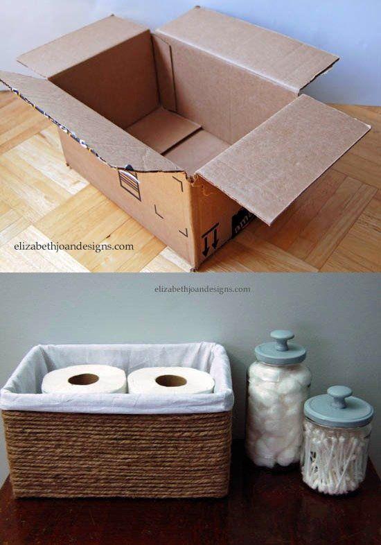 Cardboard Box into Rope Basket -elizabethjoandesigns.com - Cesta DIY con cartón, tela y cuerda