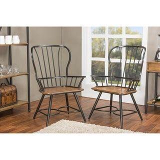 Set of 2 Longford Wood and Metal Vintage Industrial Dining Arm Chair-Black