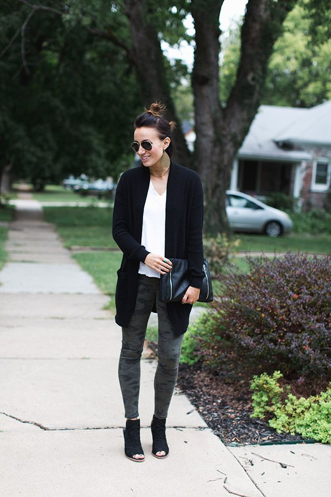 f82e66d067aa1 Black cardigan, white tee, camo pants, open toed black booties, leather  earrings, black clutch, double top nots.