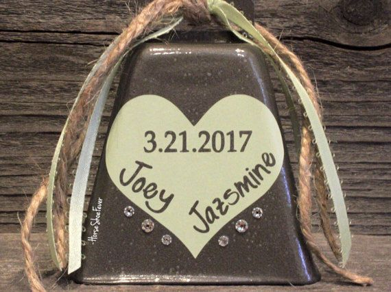 Custom Wedding Cowbell. Wedding Bells Kissing by HorseShoeFever. Rustic Wedding Cake Topper. By HorseShoeFever, Etsy, Western, Country, Southern, Cowgirl, Cowboy, Cattle, Southern, Wedding Gifts, Bridal Shower, Ring for a Kiss. HorseShoeFever.Etsy.com