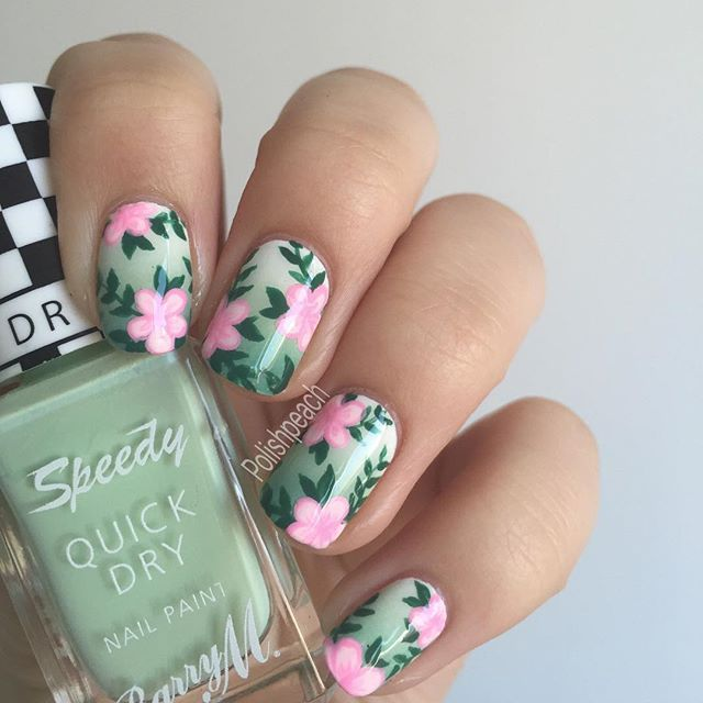 Tropical Hibiscus Floral Nails