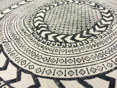 Runda mattor - Marrakech (rund) (svart/vit/grå)