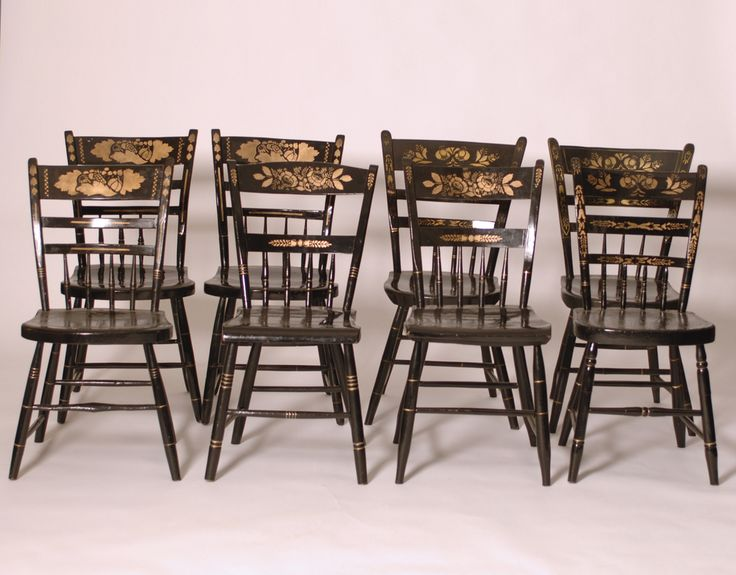 8 Antique Black and Gold Stenciled Hitchcock Style Dining Chairs - Harrington Galleries