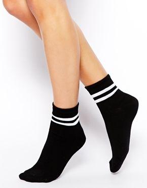 Image 1 ofASOS 2 Stripe Ankle Socks