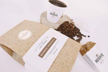 Coffee Bag and Cup Mockup Perspective Top View by Eduardo Mejia on Original Mockups