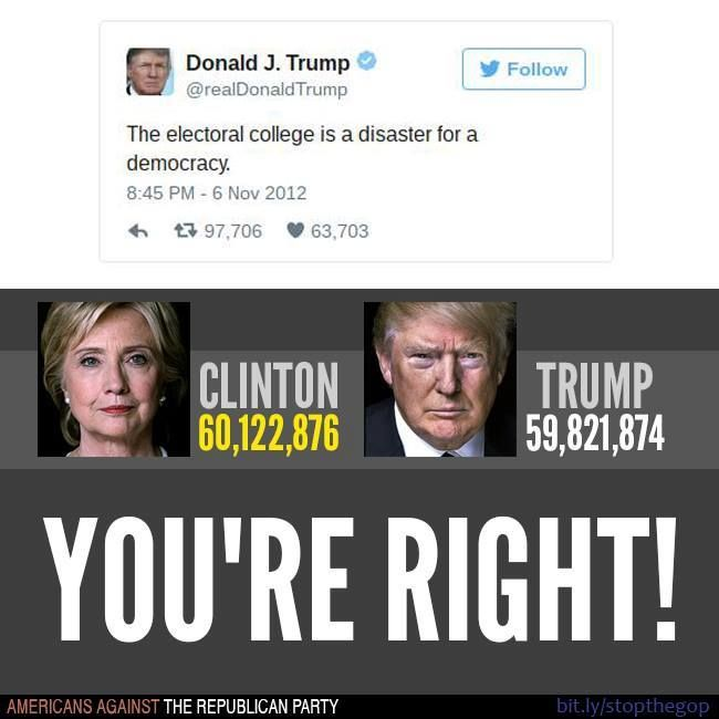 THE ONLY TRUE THING TRUMP HAS EVER SAID!?  AS OF 11-21 HILLARY HAS 1.7 MILLION MORE VOTES THAN DONNIE.  AS OF 12-2, 2.5 MILLION MORE!  THE PEOPLE HAVE SPOKEN.