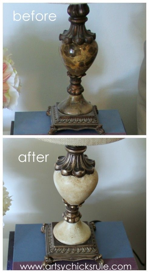 Easy!! Lamp Makeover with Chalk Paint & Gold Edges - Before & After -artsychicksrule.com #thrifty #chalkpaint #homedecor