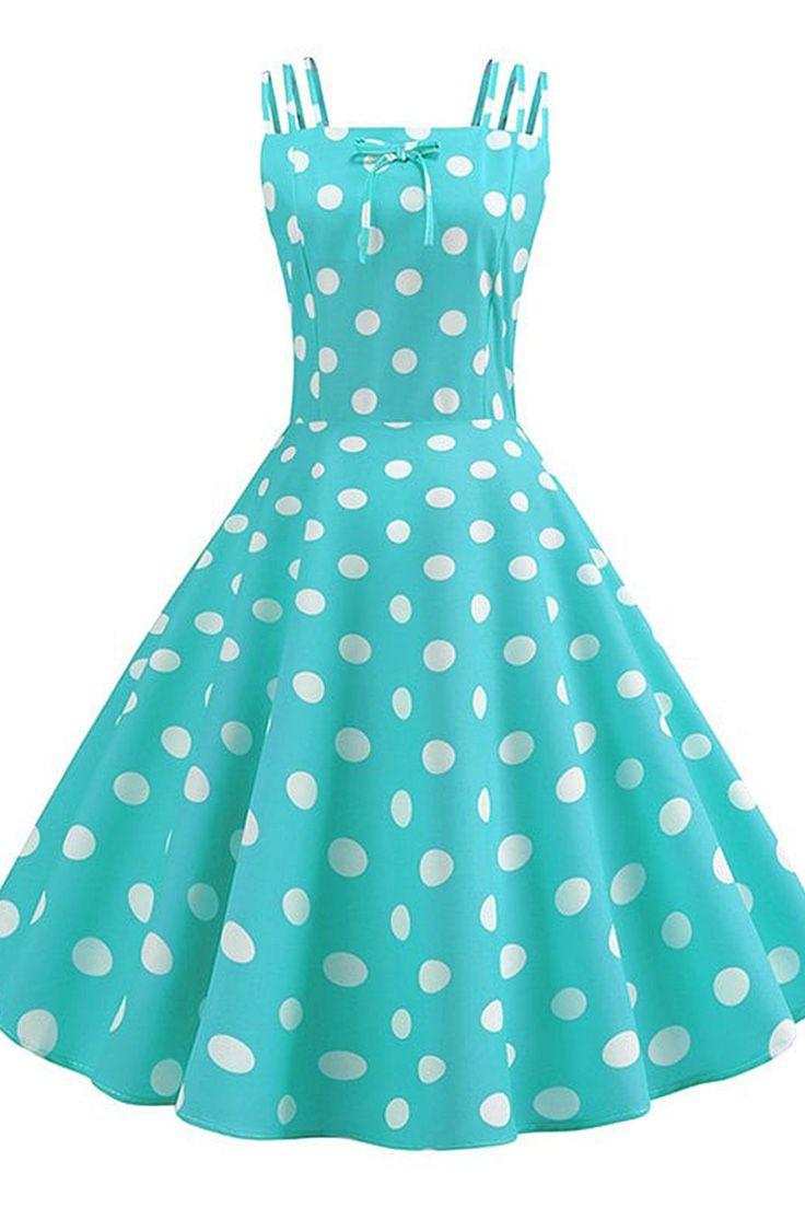 Bowknot Polka Dot Vintage Strappy Dress Cute Dresses Fashion Strappy Dresses