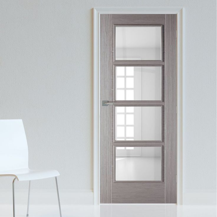 bespoke light grey vancouver door with clear safety glass prefinished - Glass Interior Doors