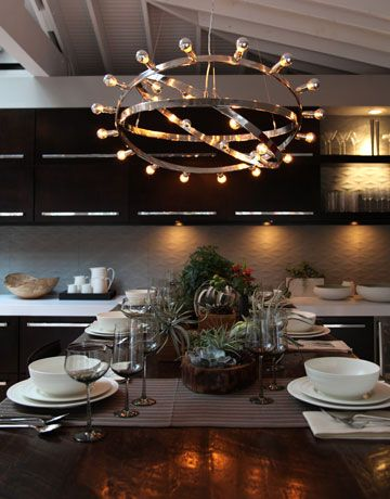 A Striking Chandelier >>  A futuristic chandelier is sure to get dinner party conversation started. #JeffLewis
