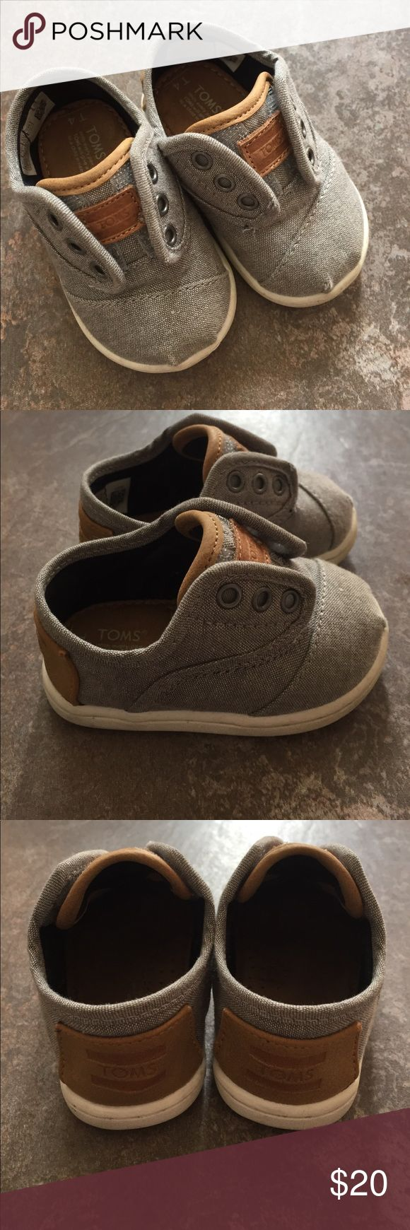Tiny Toms Paseos - Chambray Gray and Brown Gently used, size 4 Tiny Toms Paseos Toms Shoes Baby & Walker