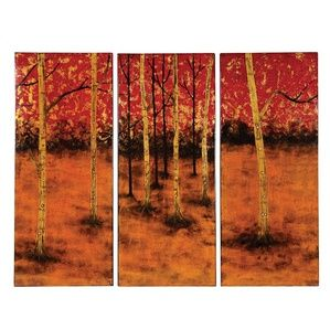 Howard Elliott Gold, Orange, Red & Black Tree Print Lacquered Panels