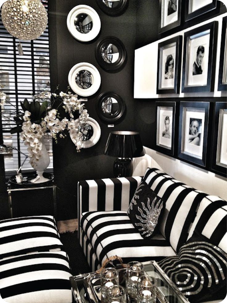 Amazing Old Hollywood Living Room Decor With Black And White Stripes Velvet Sofa Feat Black Granite