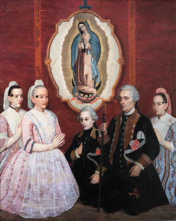 Anónimo novohispano, La familia de los condes de Nuestra Señora de Guadalupe del Peñasco (o de la Peña de Guadalupe) a los pies de la Virgen de Guadalupe, óleo sobre tela, 198 x 159 cm., 1771, colección particular, catalogación; Juan Carlos Cancino.
