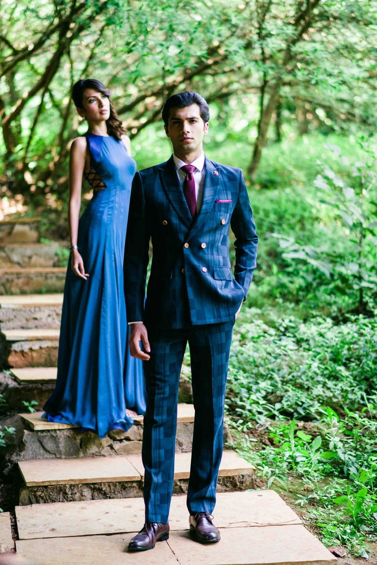 The Shades of Blue Block Print SS HOMME Suit   #ceremonial #festive #groom