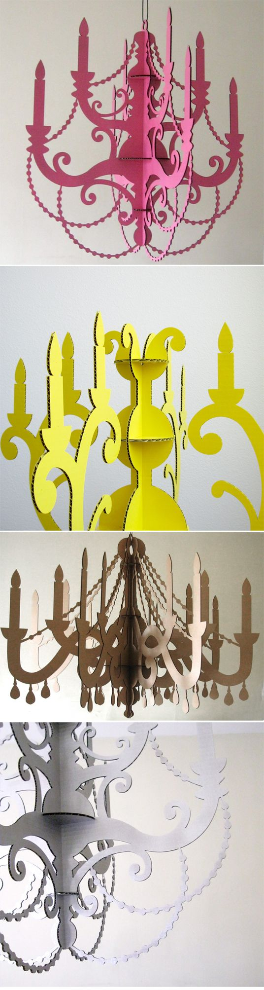 ok girls/guys...these chandeliers are made 100% of cardboard.  Sell for $125.... Ummmmmm. NOT.  So easy to DIY..... awesome aren't they?  I think i would use real beads to make them look even more realistic....love them