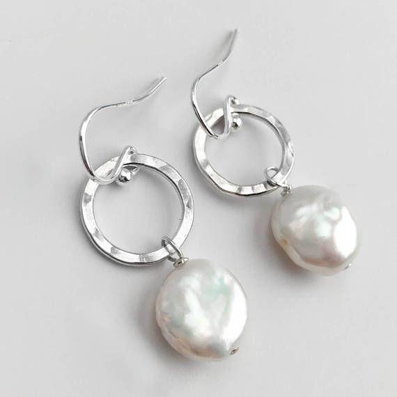 Pearl EarringsPearl Dangle EarringsCoin Pearl EarringsPearl Drop earringsGold Pearl EarringsSilver Pearl EarringsJune Birthstone