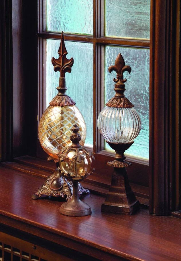 Tuscan Glass and Metal Finials - Set of 3 - These stately, decorative, antiqued iron and mouth-blown glass finials are great office accents - in a bookcase or on a desk. Set of 3. FIND THESE AT COUNTRY VILLA DECOR ONLINE BOUTIQUE www.country-villa-decor.com
