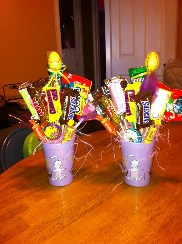 Small purple easter candy bouquet