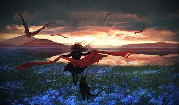 3513 animal bird clouds dog flowers original scarf scenic seifuku sky sunset water