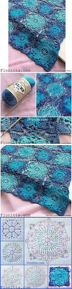 Pretty crochet pattern with diagram.* ༺✿ƬⱤღ  https://www.pinterest.com/teretegui/✿༻