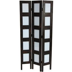 distressed 3 panel photograph display room divider screen in faux brown leather
