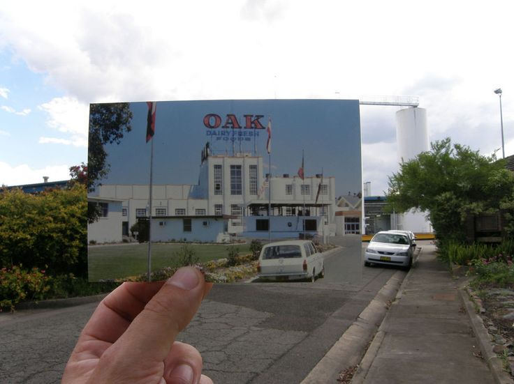 The Oak Dairy Factory at Hexham NSW in 1984 and now.