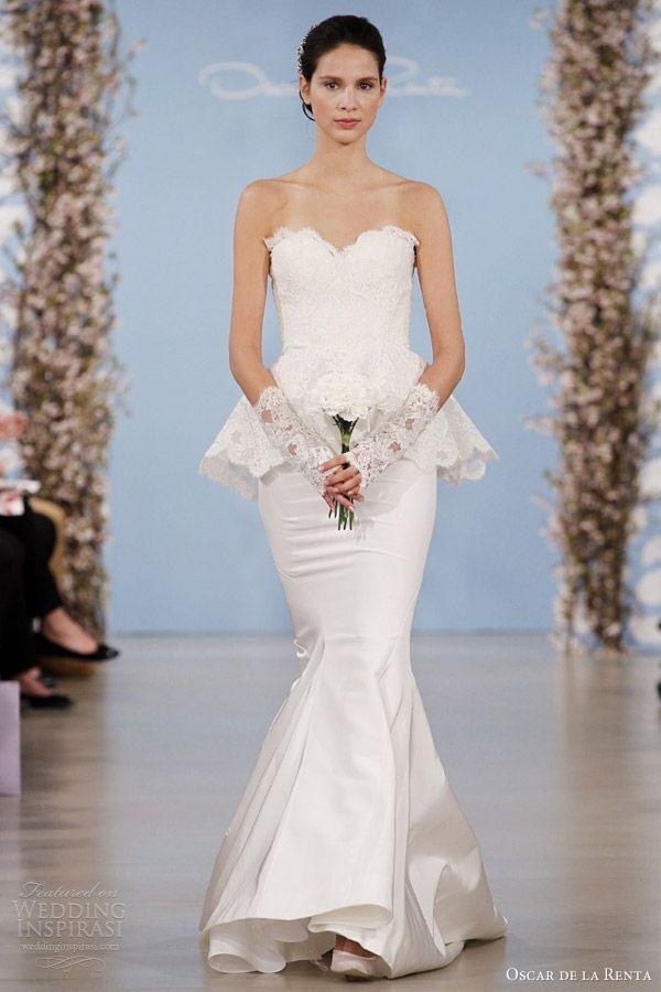 oscar de la renta 2014 bridal bouquet corded chantilly lace sweetheart peplum gown ivory silk faille trumpet skirt