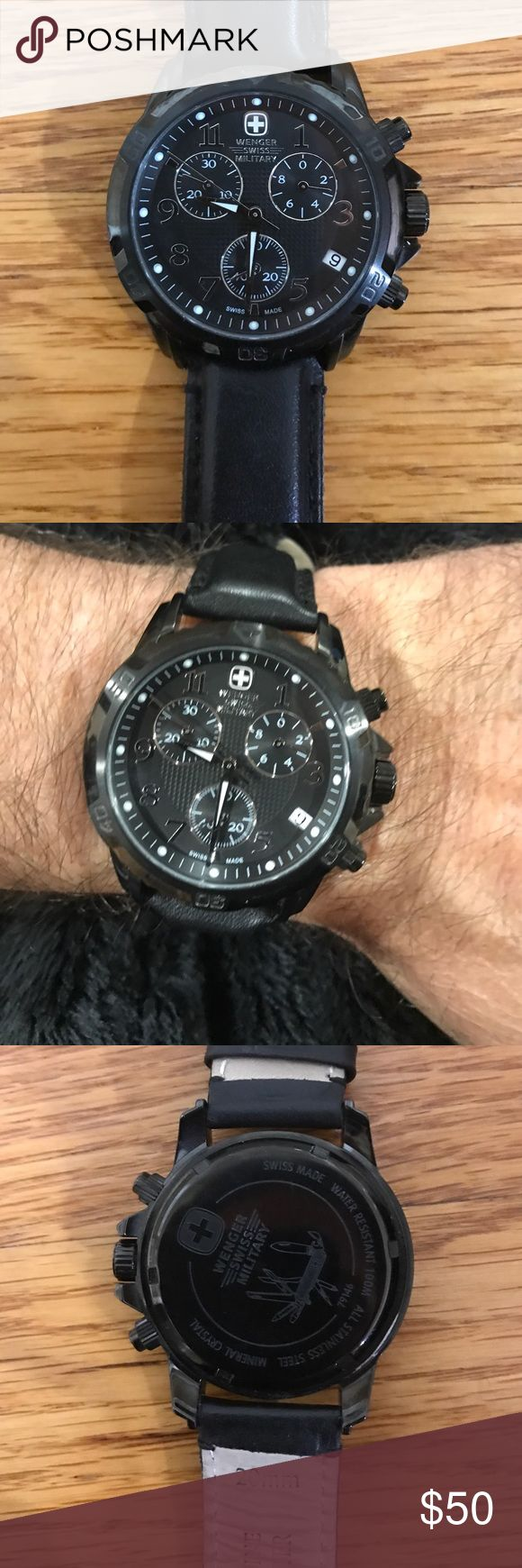 Black Wenger Swiss Military Watch Beautiful Chronograph Wenger Swiss Military watch with black leather band. Waterproof to 330 ft. Sold with original box. New watch battery needed Accessories Watches