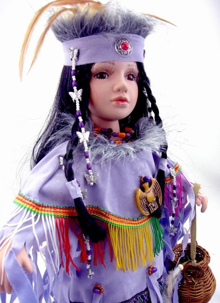 "INDIAN PORCELAIN NATIVE AMERICAN COLLECTIBLE DOLL ""CHEPI"" 16'' H D16607"