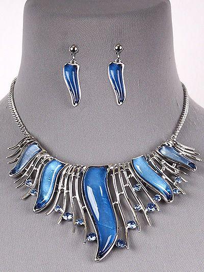 Curved Blue Rhinestone Silver Tone Statement Necklace Earrings Fashion Jewelry  #DazzledByJewels