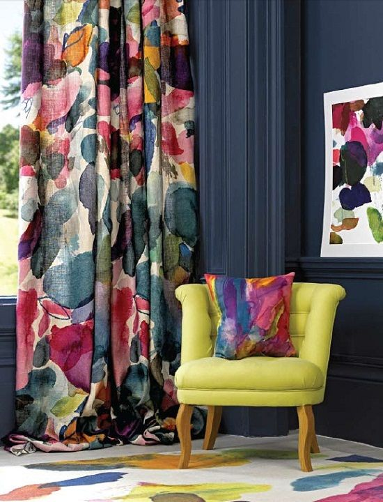 love the idea of bright curtains and furniture with dark walls - Bedroom Curtain Colors